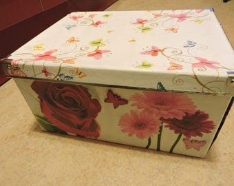 Large box, colored, floral, spring themed