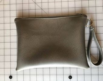 Grey Clutch with pink lining