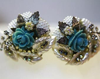 Pearl Floral Clip On Earrings