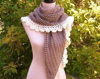 Handmade Brown and ecru crochet shawl and 3 small flowers