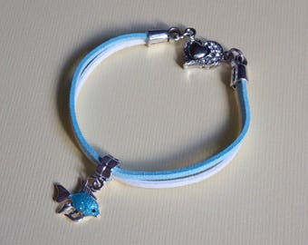 turquoise suede fish bracelet turquoise and white