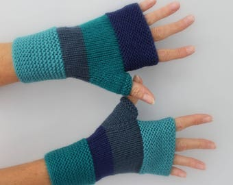 hand knitted mittens emerald green, turquoise, blue and Royal Blue