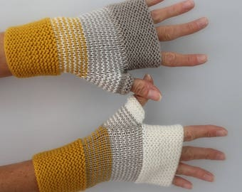 hand knitted mittens mustard yellow, light gray and ivory white