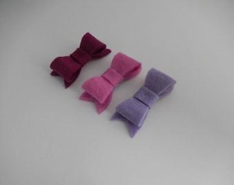 Set of 3 purple felt bow hair clips