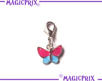 CHARM blue butterfly charm & ROSE m053 SILVERED METAL