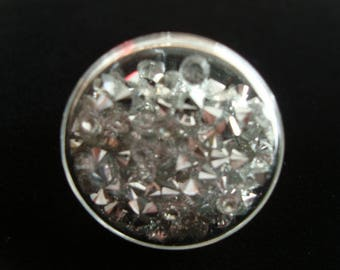 """Large ring """"puck"""" blown glass filled with mini rhinestones very shiny"""