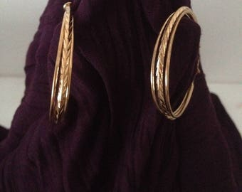 Earrings trio ring plated gold