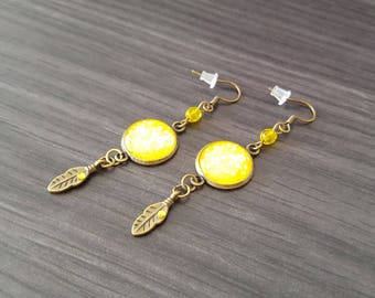 Cabochon yellow feather Earrings