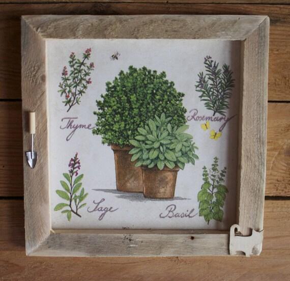 Tableau d co cuisine les plantes aromatiques thym romarin for Deco cuisine cadre