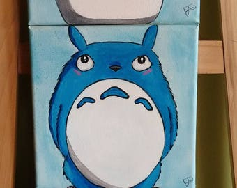 Set of three paintings of Totoro and friends