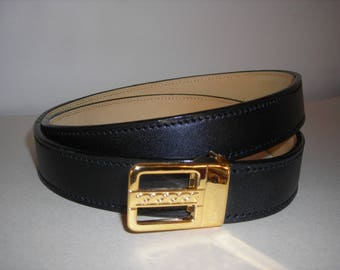 Mixed man/woman black cowhide lined nubuck calf leather belt