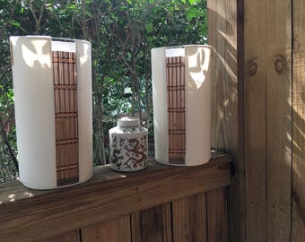Tiki Beige Linen  Sconce or Table Lamp