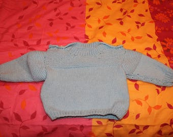 Blue jersey and garter stitch sweater