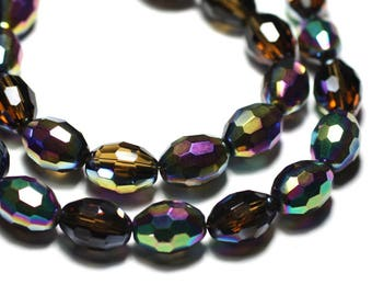 8pc - beads glass olive faceted 16x12mm Maroon multicolor Rainbow - 8741140021839