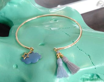 Bangle bracelet gold and blue cloud