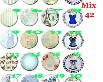 cabochon 25 mm glass choice Mix42-25