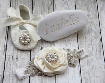 Personalized cream shoes cream newborn girl shoes headband cream hairband cream baby shoes cream ballerina shoes cream baby headband