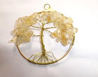 Necklace citrine tree of life pendant magnetized solar plexus chakra