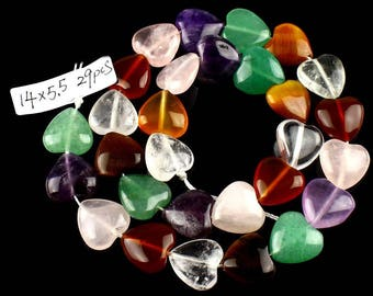 14x5.5 mm / 1 strand of 29 beads stone mix heart under 15 days