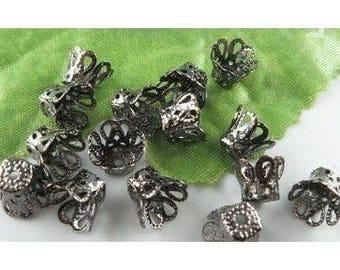 15 cups caps 6x9.5mm black Gunmetal bead caps