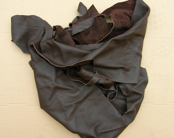 Brown cow leather scraps