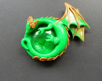 Green Dragon polymer clay magnet