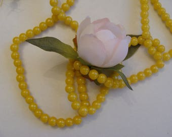 Set of 10 beads in glass yellow size 6