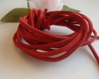 Set of two cords red faux velvet suede 3 * 2 mm