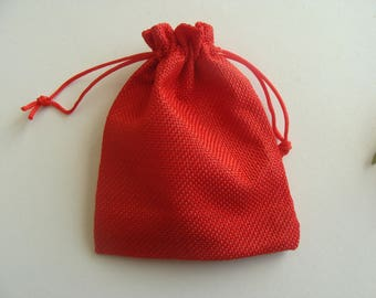 Gift jewelry box red 13 * 9.5 cm Hessian pouch