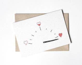 Anniversary Card - Love Card - Valentine - Tachometer with love