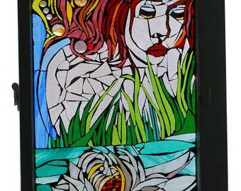Water Nymph Glass Mosaic in Vintage Window