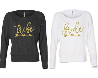 Long Sleeve Bride Tribe, Bachelorette Party Shirts, Bridesmaid Shirts, Bridal Party Shirts, Team Bride Shirt, Wedding Party, Bridesmaid Gift