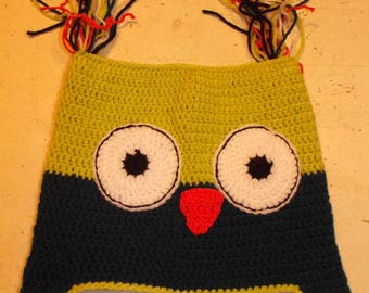 Blue and green OWL crochet Hat