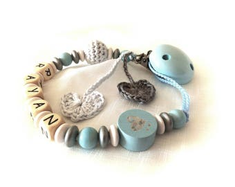 Pacifier, pacifier clip personalized blue wood with pearl beads shiny heart and crochet hearts