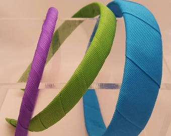 Skinny, Medium and Wide Headbands Wrapped in Grosgrain Ribbon