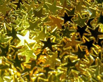 Set of 200 glitter scrapbooking gold stars 7 mm