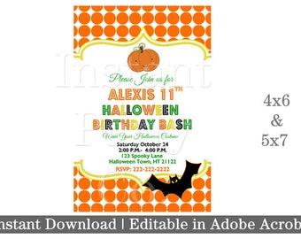 Halloween birthday invitation | Halloween birthday bash invitation
