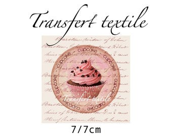 Transfer textile vintage cup cake on manuscript 7 / 7cm Jul and wire design