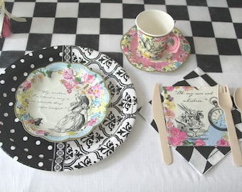 Alice in Wonderland Decorations, Mad Tea Party Tableware, party supplies