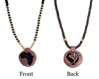 Africa/Black Power 2-sided wooden beaded necklace (Limited Quantity!)