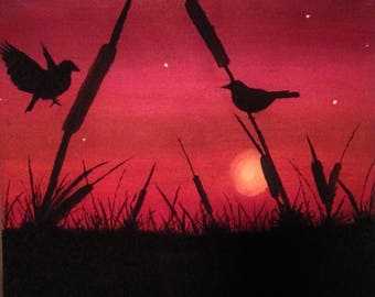 Red sky and bird silhouette prints