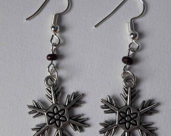 Snowflake and Pearl Earrings