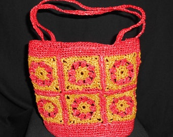 Red and gold crochet raffia bag