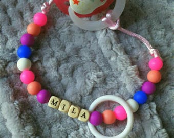 """Pacifier pattern """"Mila"""" silicone and wood beads"""