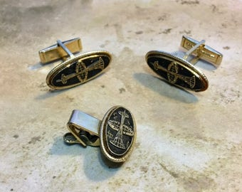 Vintage Gold Tone Cuff Link and Tie Bar Set