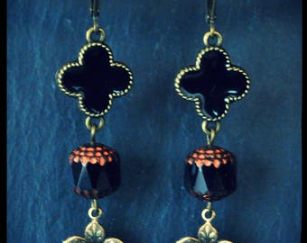Black Cathedral and brass leaf beads dangling earrings