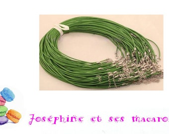 Green 1 necklace 46 cm faux leather