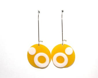 Yellow recycled plastic earrings
