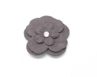Approximately 65mm dark purple leather flower