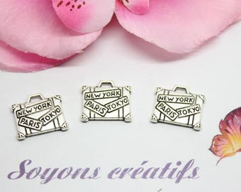 10 charms silver NEW YORK PARIS TOKYO 16x14mm - creating jewelry - bag Charm